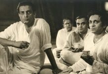 Satyajit Ray with Ravi Sankar recording for Pather Panchali, filmbibo