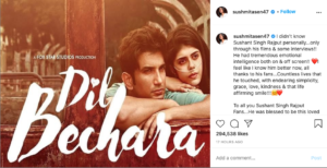 sushmita sen insta post on sushant singh rajput and dil bechara trailer
